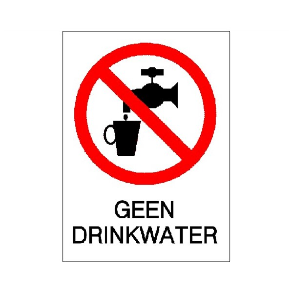Pictogramsticker Geen Drinkwater 147x55mm rood tekst-wit Ajax