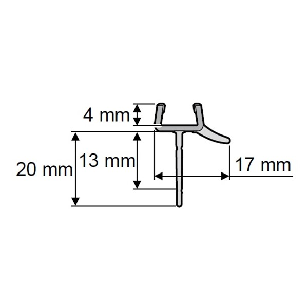 Afvoerprofiel recht 1000mm 13/20mm tbv glas 6mm Huppe