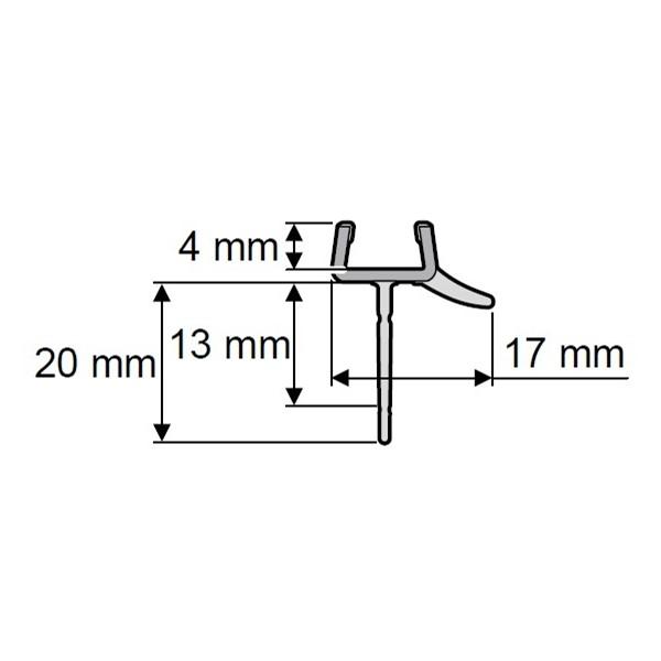 Afvoerprofiel recht 1000mm 13/20mm tbv glas 8mm Huppe
