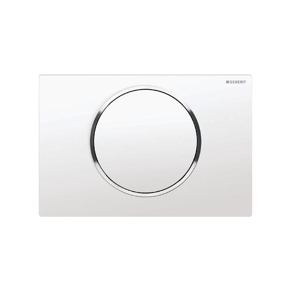 Sigma10 bedieningsplaat Pl+toets wit ring:glans chroom Geberit