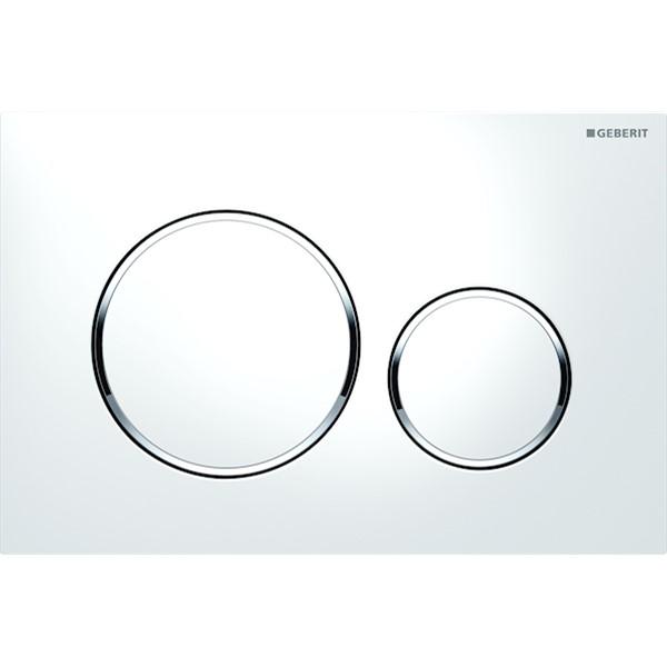 Sigma20 bedieningsplaat PL+toetsen:wit ring glans chroom Geberit