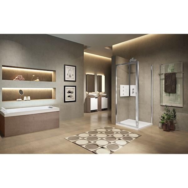 Lunes 2.0 G draaideur 840-900x1950mm matchroom helder Novellini