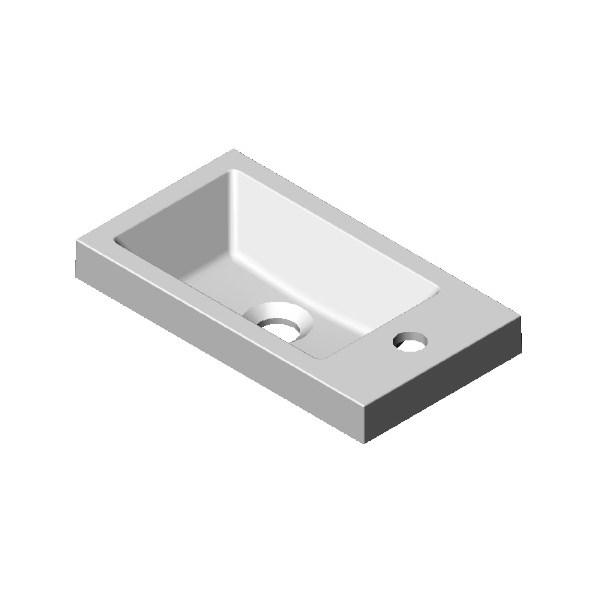 Wastafel 4 k.marmer wit 40cm 1x kom m.krg (set besteld) Detremmerie