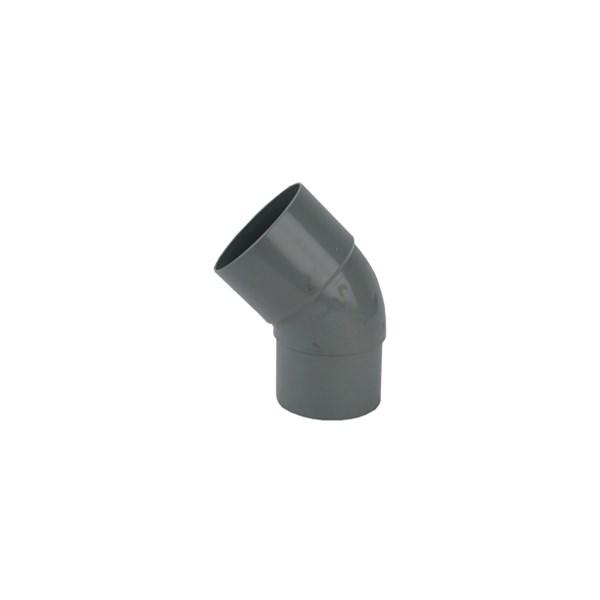 PVC HWA bocht 45gr. 80mm grijs mof/verjongspie Wavin